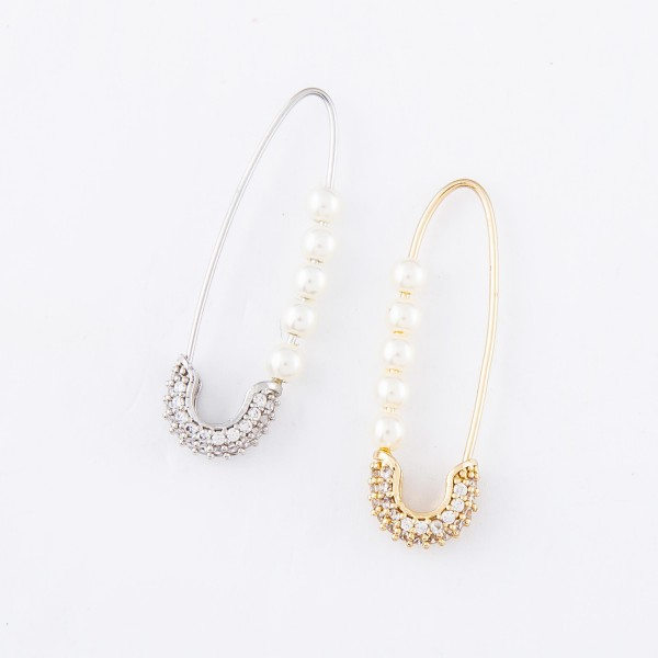"""Brass Cubic Zirconia Pearl Beaded Threader Safety Pin Earrings.  - Approximately 1.25"""" L"""