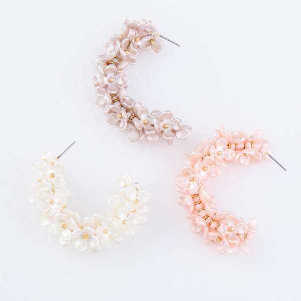 "Beaded Flower Cluster Statement Hoop Earrings.  - Approximately 1.75"" in Diameter"
