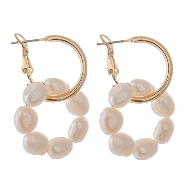 Wholesale pearl Beaded Linked Hoop Earrings Gold Diameter L