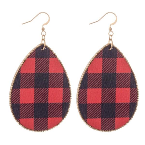 """Faux Leather Buffalo Check Teardrop Earrings.  - Approximately 3"""" L"""