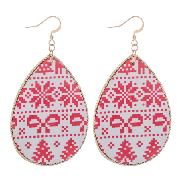 "Faux Leather Christmas Sweater Print Teardrop Earrings.  - Approximately 3"" L"