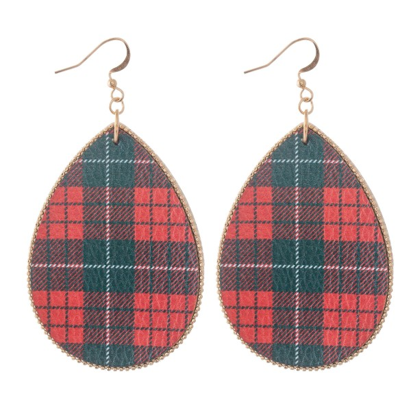 "Faux Leather Christmas Plaid Print Teardrop Earrings.  - Approximately 3"" L"