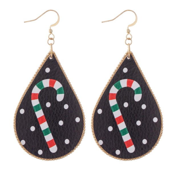 "Faux Leather Christmas Print Teardrop Earrings.  - Approximately 3"" L"