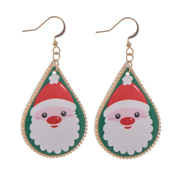 "Faux Leather Christmas Print Teardrop Earrings.  - Approximately 2.25"" L"