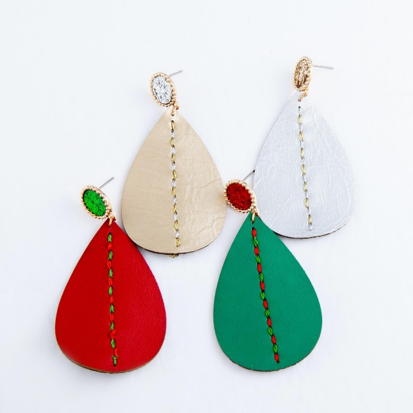 "Two Tone Faux Leather Teardrop Earrings Featuring Glitter and Thread Details.  - Approximately 2.75"" L"