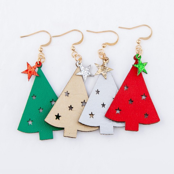 "Two Tone Glitter Christmas Tree Drop Earrings Featuring Star Punch Out Details.  - Faux Leather  - Approximately 2"" L"