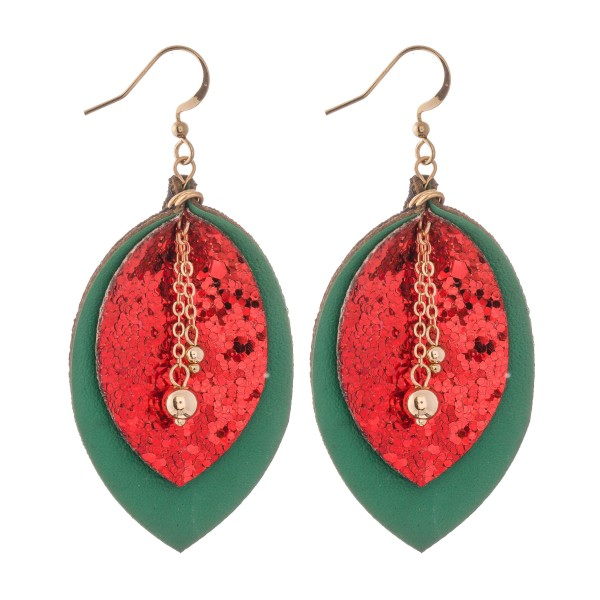 """Two Tone Faux Leather Glitter Drop Earrings Featuring Center Bead Detail.  - Approximately 2.5"""" L"""
