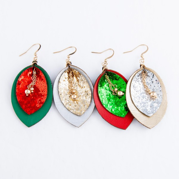"Two Tone Faux Leather Glitter Drop Earrings Featuring Center Bead Detail.  - Approximately 2.5"" L"