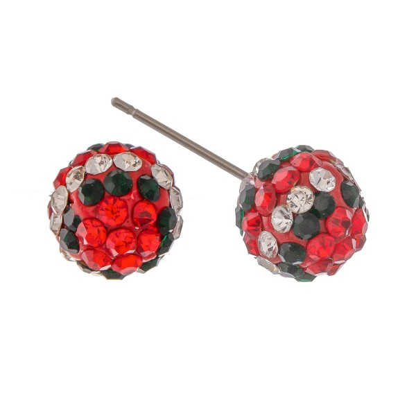 Christmas Holiday Rhinestone Stud Earrings.  - Approximately 9mm in Size
