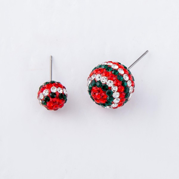 Christmas Holiday Rhinestone Stud Statement Earrings.  - Approximately 15mm in Size