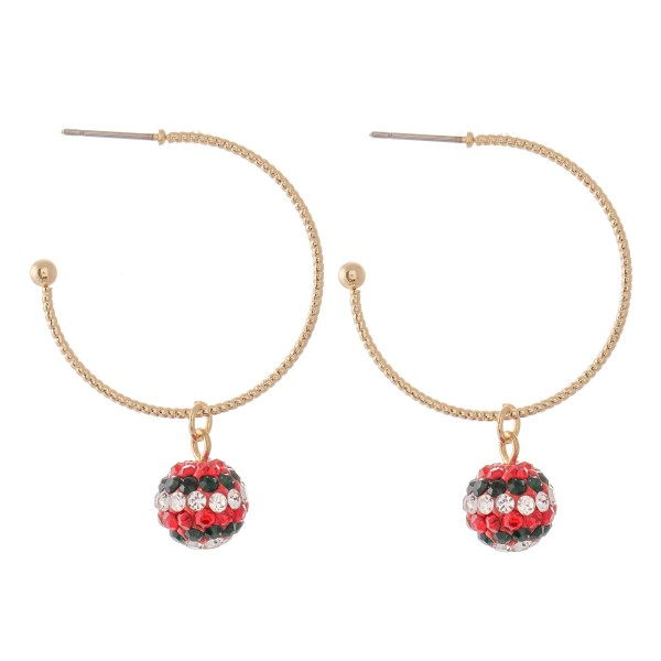 """Gold Hoop Earrings Featuring Christmas Holiday Rhinestone Ball Accent.  - Hoop Diameter 1.5""""  - Accent 9mm  - Approximately 2"""" L"""