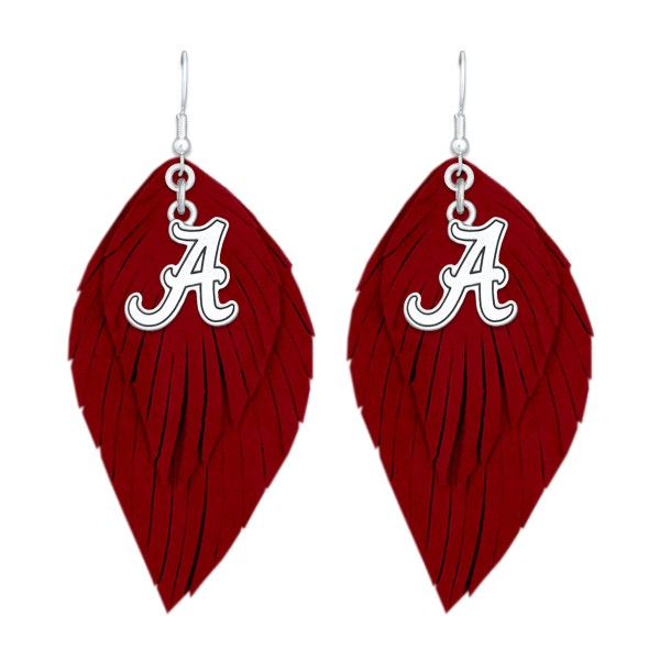 Wholesale alabama Game Day Feather Drop Earrings L
