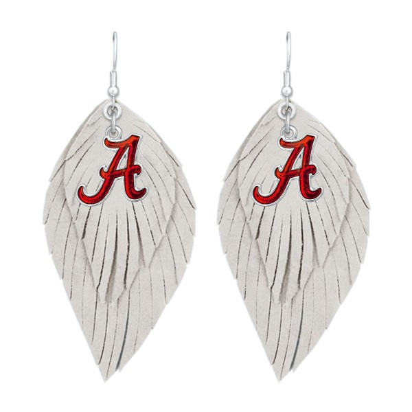 "Alabama Game Day Feather Drop Earrings.  - Approximately 2.5"" L"