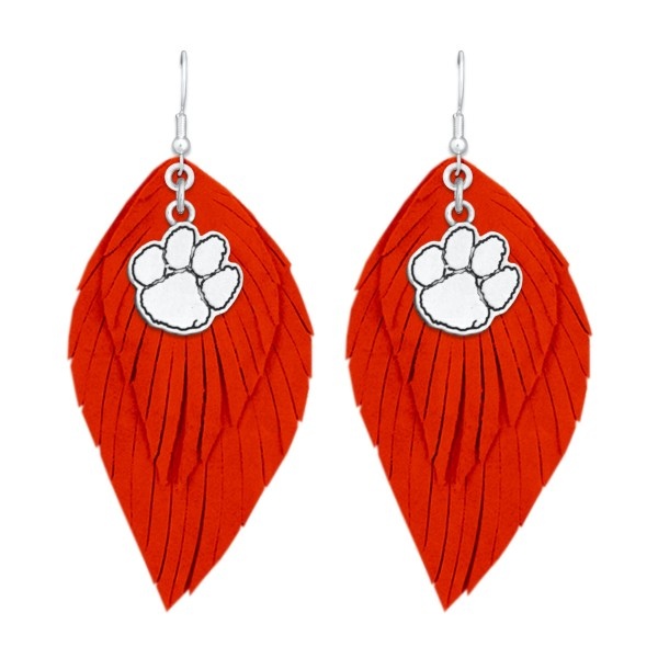 "Clemson Game Day Feather Drop Earrings.  - Approximately 2.5"" L"