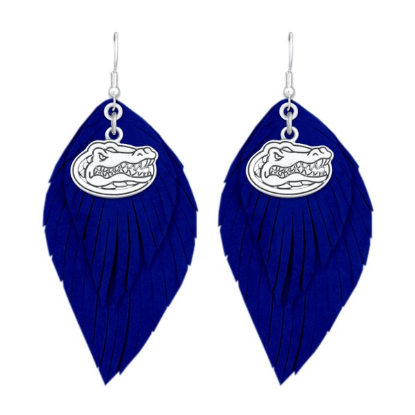 Wholesale florida Gator Game Day Feather Drop Earrings L