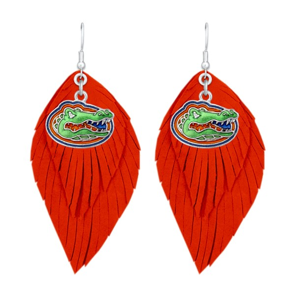 "Florida Gator Game Day Feather Drop Earrings.  - Approximately 2.5"" L"