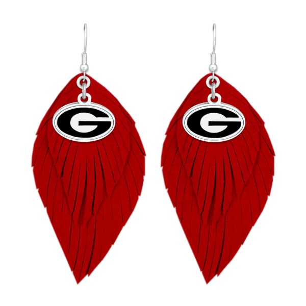 "Georgia Game Day Feather Drop Earrings.  - Approximately 2.5"" L"