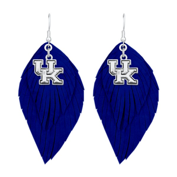 "Kentucky Game Day Feather Drop Earrings.  - Approximately 2.5"" L"