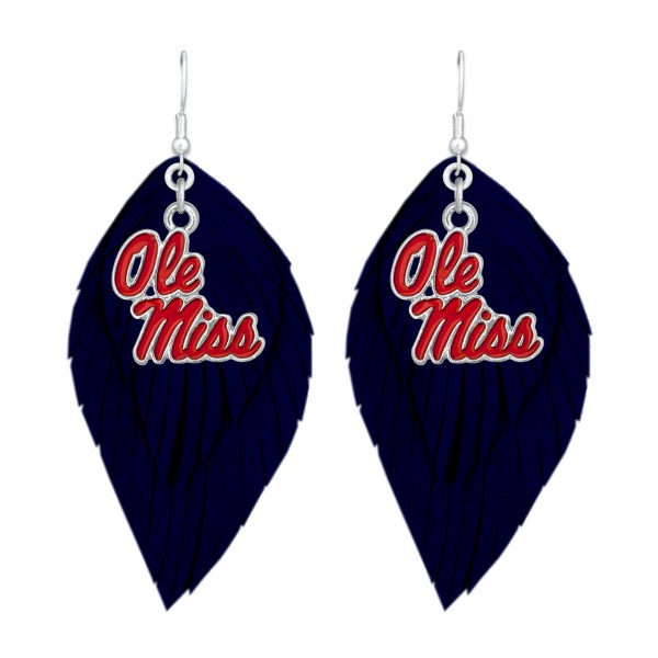 "Game Day Feather Drop Earrings.  - Approximately 2.5"" L"