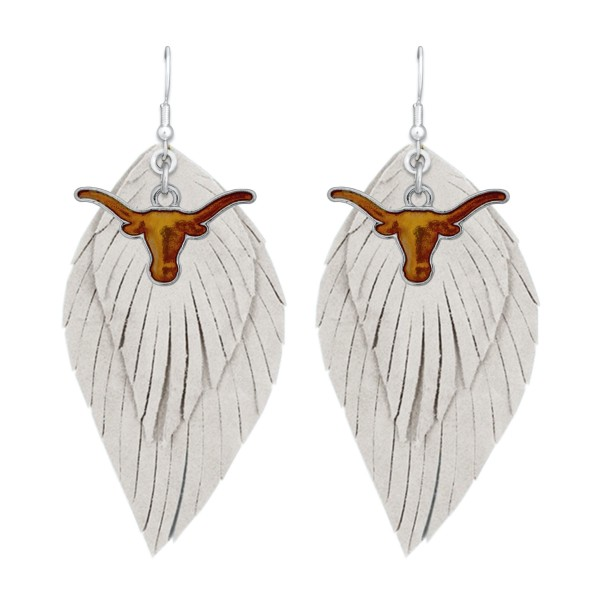 "Texas Longhorn Game Day Feather Drop Earrings.  - Approximately 2.5"" L"