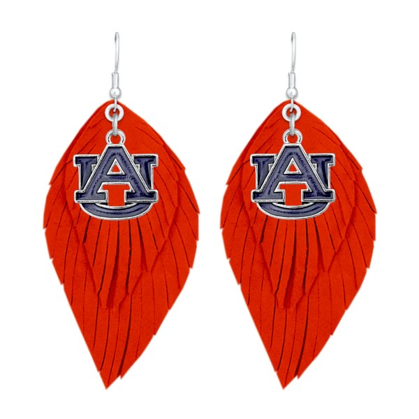 "Auburn Game Day Feather Drop Earrings.  - Approximately 2.5"" L"