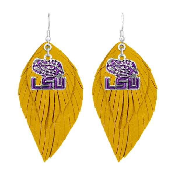 "LSU Game Day Feather Drop Earrings.  - Approximately 2.5"" L"