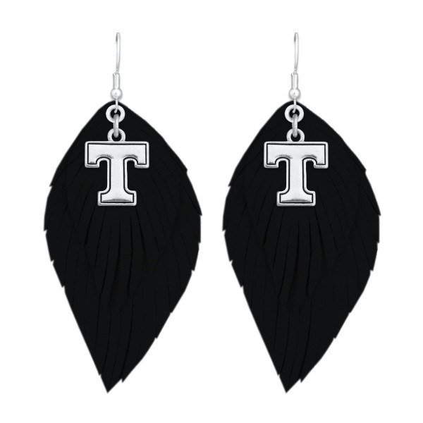 "Tennessee Game Day Feather Drop Earrings.  - Approximately 2.5"" L"