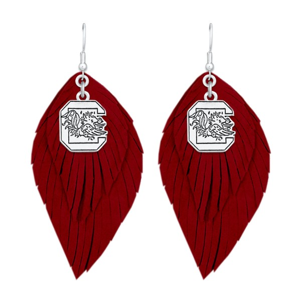 Wholesale university South Carolina Game Day Feather Drop Earrings L