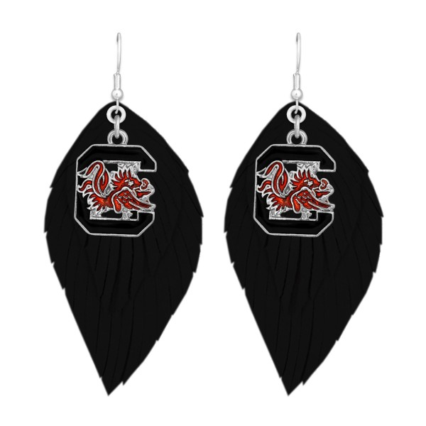 "University of South Carolina Game Day Feather Drop Earrings.  - Approximately 2.5"" L"