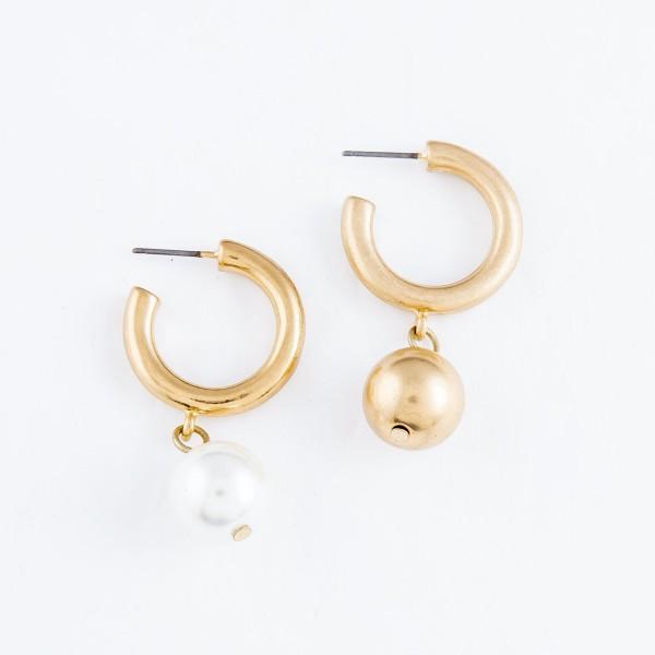 """Drop Hoop Earrings in Gold.  - Hoop Diameter .75""""  - Gold Bead 11mm  - Approximately 1.5"""" L"""