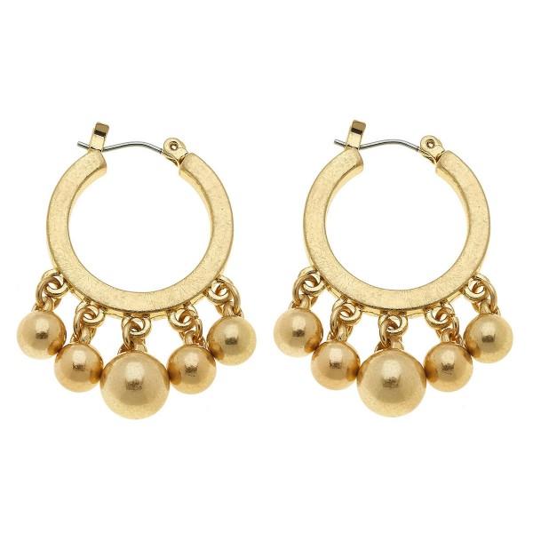 """Beaded Hoop Earrings in Worn Gold.  - Hoop Diameter 1""""  - 4mm-7mm Bead Size - Approximately 1.5"""" L"""
