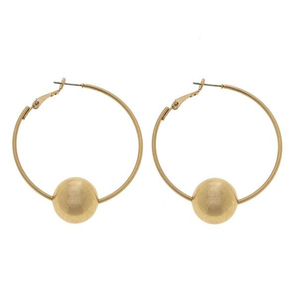 """Hoop Earrings in Gold Featuring Bead Detail.  - 15mm Bead Size - Hoop Diameter 2"""""""