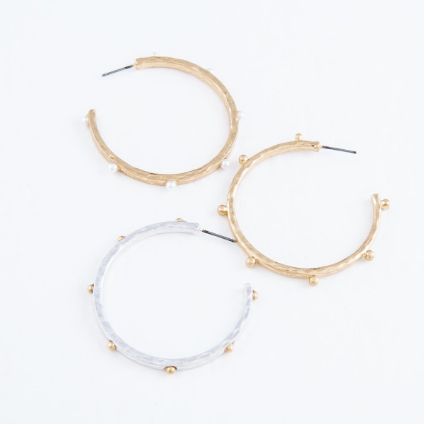 Hammered Hoop Earrings Featuring Ball Stud Accents in Gold.  - Hoop Diameter 2""