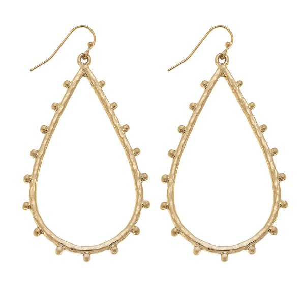 "Hammered Metal Teardrop Earrings in Gold Featuring Ball Stud Accents.  - Approximately 2.75"" L"