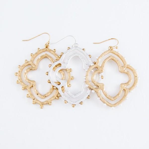 "Two Tone Quatrefoil Drop Earrings.  - Approximately 2.25"" L"