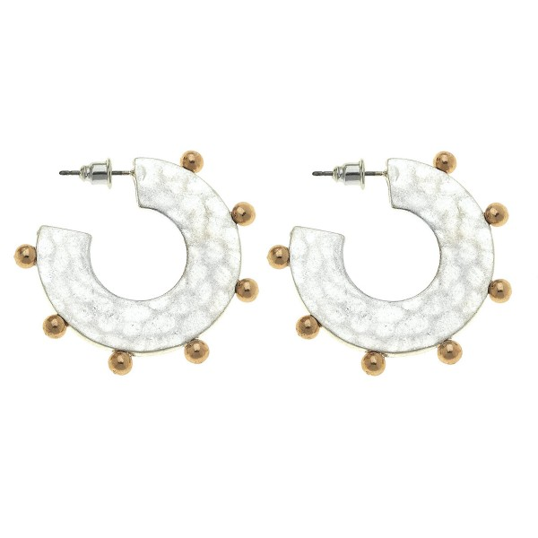 Two Tone Flat Metal Hammered Hoop Earring Featuring Ball Stud Accents.  - Hoop Diameter 1""