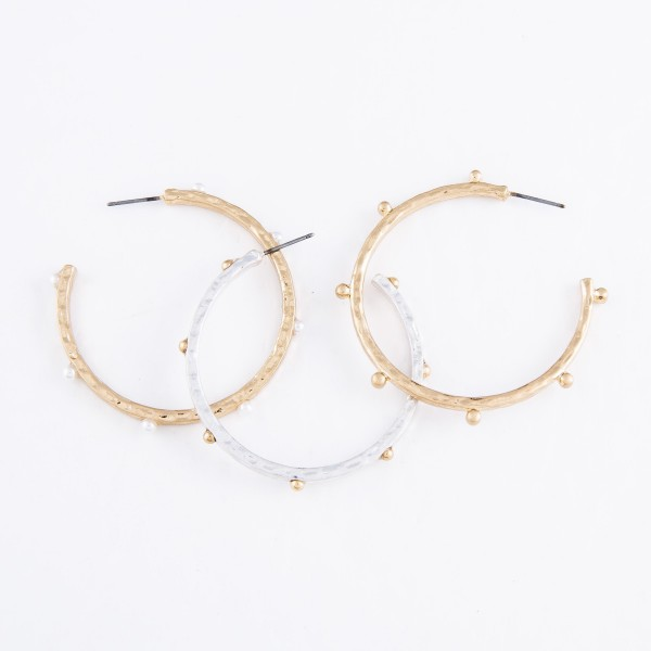 Two Tone Hoop Earrings.  - Hoop Diameter 2""