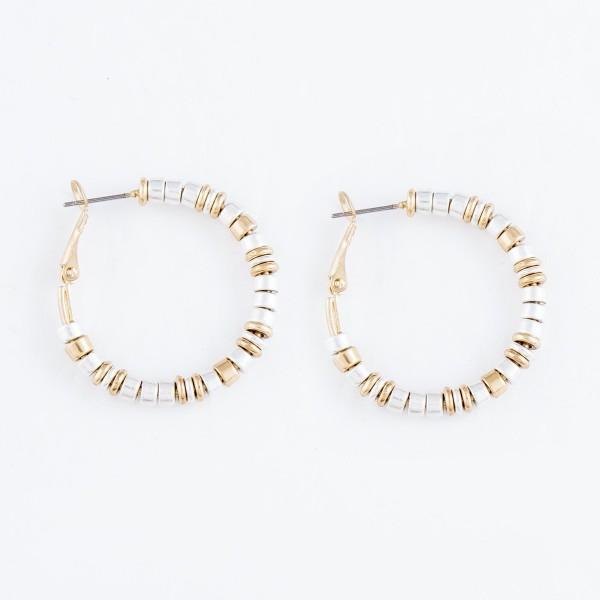 """Two Tone Heishi Beaded Hoop Earrings.  - Approximately 1.25"""" in Diameter"""