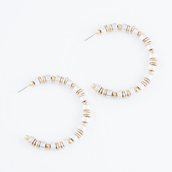 """Two Tone Heishi Beaded Hoop Earrings.  - Hoop Diameter 2"""""""