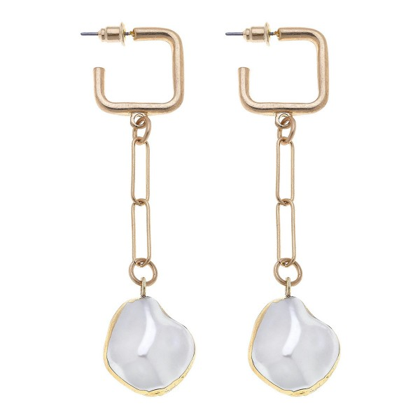 Wholesale chain Link Ivory Pearl Square Hoop Drop Earrings Gold L
