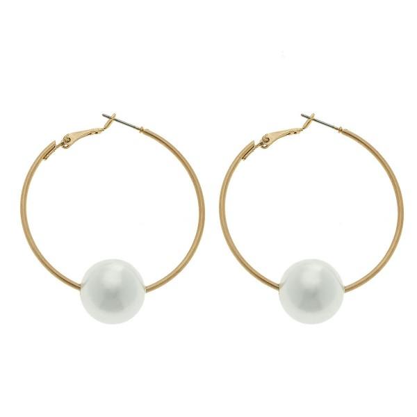"""Hoop Earrings in Gold Featuring Ivory Pearl Bead Detail.  - 15mm Bead Size - Hoop Diameter 2"""""""