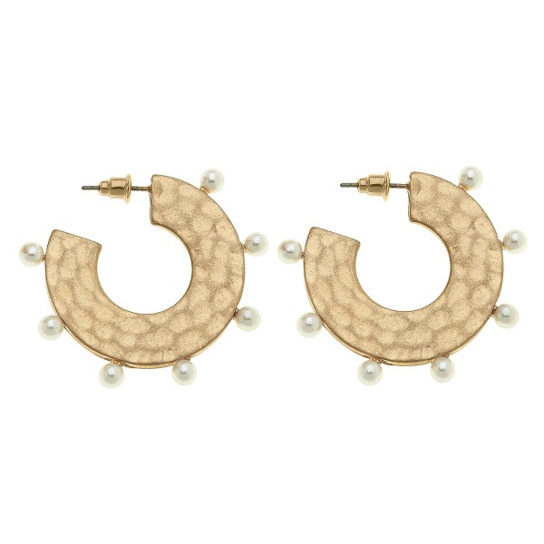 Wholesale flat Metal Hammered Hoop Earring Ivory Ball Stud Accents Hoop Diameter