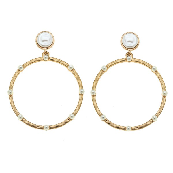 """Hammered Drop Earrings in Gold Featuring Ivory Pearl Accents.  - Diameter 2""""  - Approximately 2.5"""" L"""