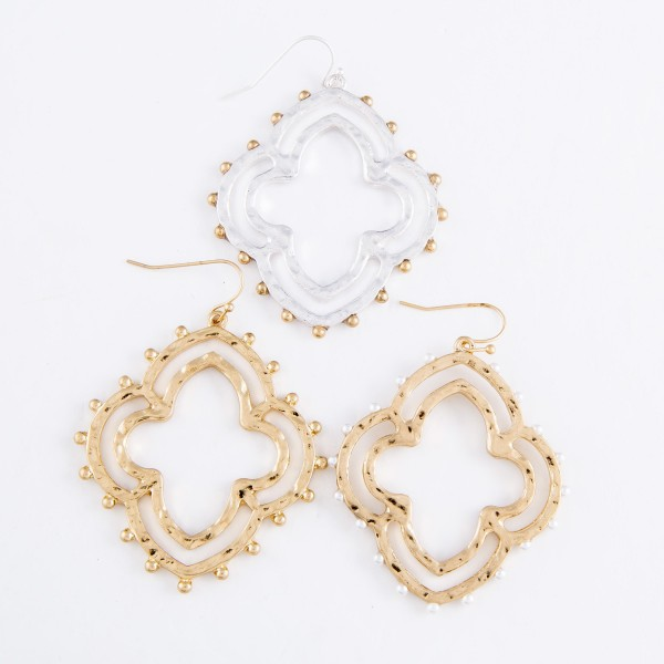 "Hammered Moroccan Clover Drop Earrings Featuring Ivory Ball Stud Accents in Gold.  - Approximately 2.25"" L x 1.75"" W"