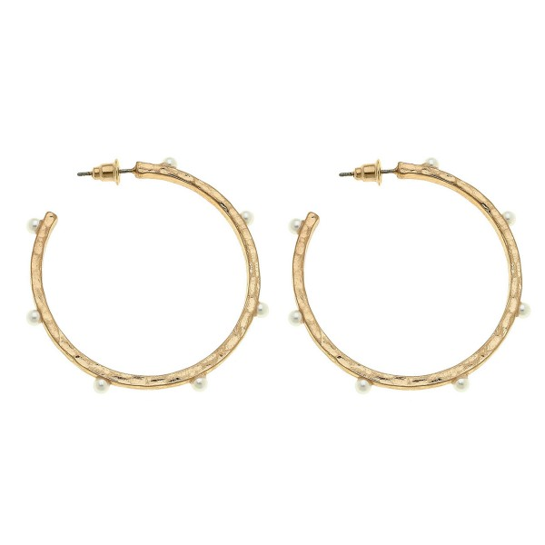 Ivory Pearl Hoop Earrings.  - Hoop Diameter 2""