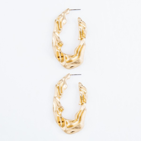 "Abstract Nugget J Hoop Earrings in Gold.  - Approximately 2.25"" L"