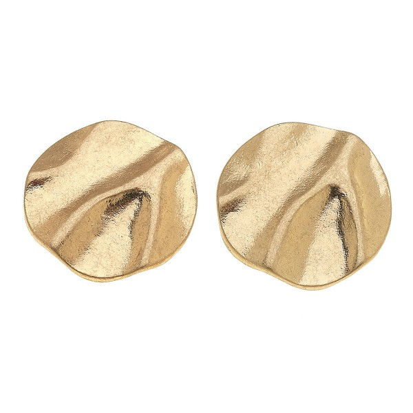 "Abstract Metal Stud Earrings in Worn Gold.  - Approximately .75"" in Diameter"
