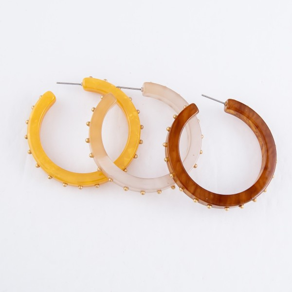 Acrylic Resin Hoop Earrings Featuring Stud Accents in Gold.  - Hoop Diameter 2""