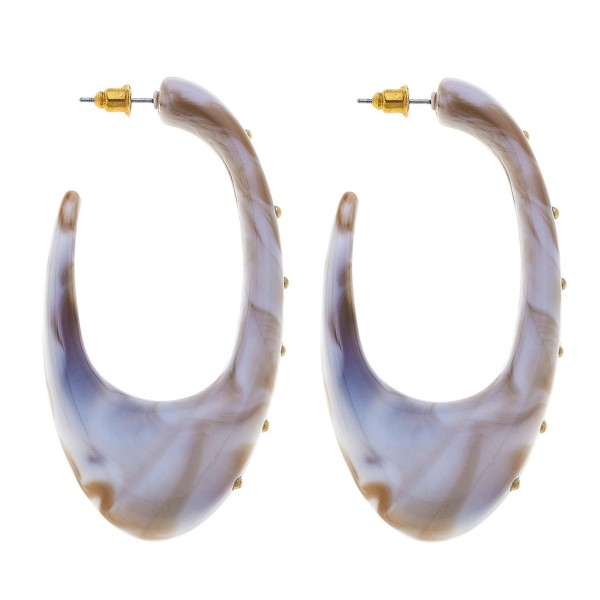"Acrylic Resin J Hoop Statement Earrings Featuring Stud Accents in Gold.  - Approximately 3"" L"