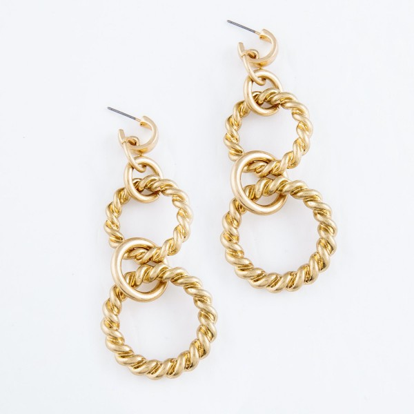 "Twisted Chain Link Drop Hoop Earrings in Gold.  - Approximately 3"" L"